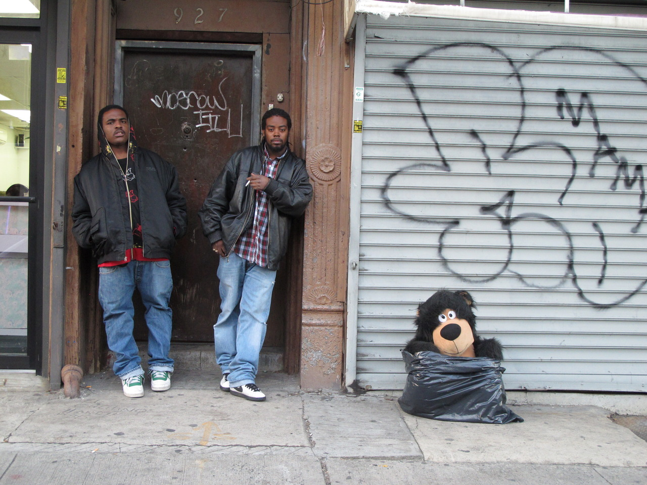Tough Guys with Teddy Bear In Bag Bedstuy